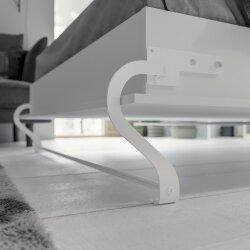 SMARTBett Schrankbett Vertikal 140x200 Weiss/Weiss Lattenrost Classic Griff Lang